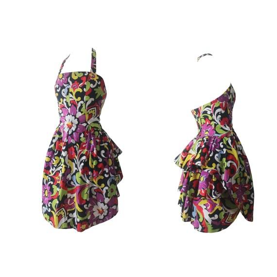 Christian LaCroix Floral Print Bustier Dress