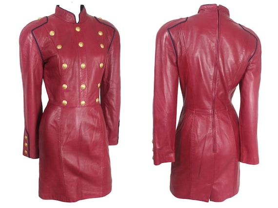 North Beach Leather Michael Hoban Red Leather Dres