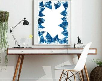 Indigo Blue Eco Print, Leaves Art Work, Forest theme Art, Botanical Print, Eco-Printed, Blue Monoprint, Organic Floral Print, Tropical Leaf