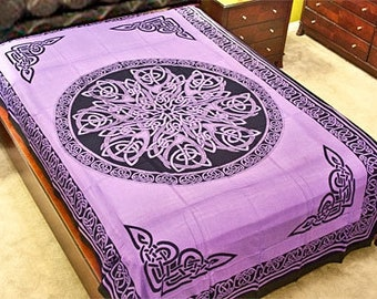 Purple Celtic Circular Knot Tapestry, Irish Twin Bed Spread, Renaissance Festival Wall Hanging, Welsh Table Cloth, 100% Cotton Decoration