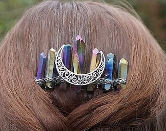 Bride. Luna HAIRCLIP ~ Accessories Moon Moon Wedding Barrette Hairpiece Silver Moon Goth Comb Witch