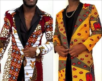Men's Reversible Ankara Long Trench Coats Jackets/ Blazer African Print