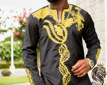 0ac611534 Modern embroidered African Men's Dashiki / Kente/ Ankara/ Shirt, African  Clothing ,Shirt Only, African Attire, African fashion Shirt