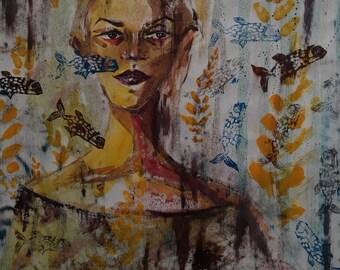 art linoprint acrylic paint nature and girl