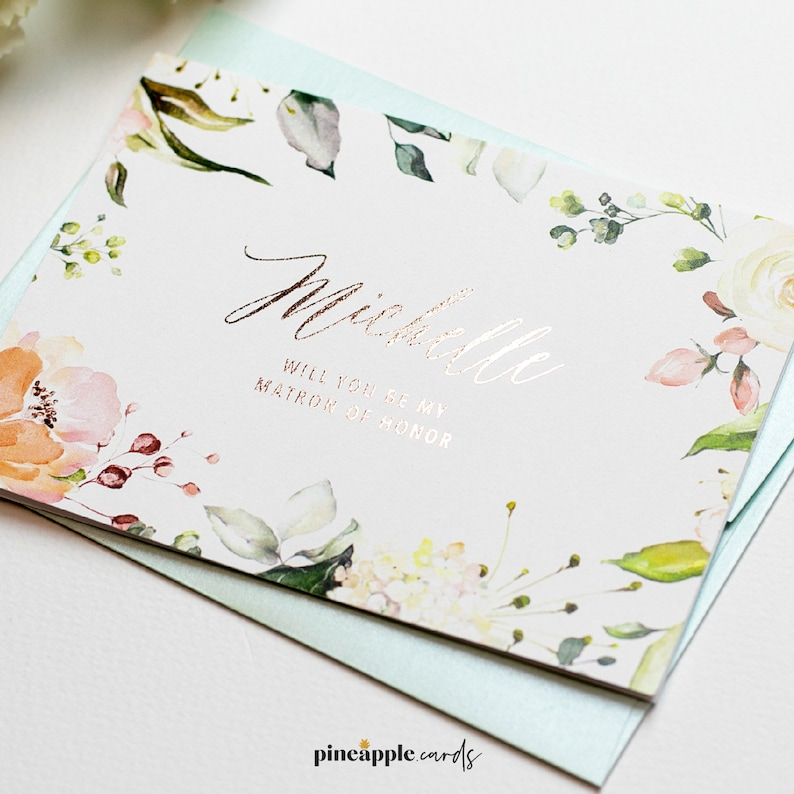Personalized will you be my Bridesmaid Card Wedding Proposal Card with Name