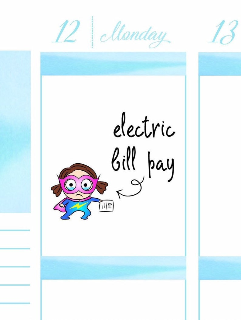 Electric bill due Planner Stickers A005 image 0