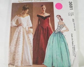McCall s Evening Elegance Pattern   3681 Fitted Low Neckline T with  Gathered Skirtop Misses size 6-8-10-12 e2c78a7c066