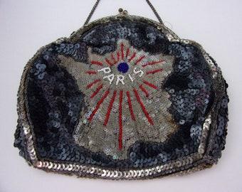Antique Vintage French Evening Bag / Purse with Paris design