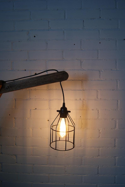 Handmade wooden floor lamp steampunk lamp industrial lamp