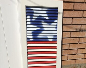Wood American Flag-American flag shutter-Porch sign-Wood flag-Porch decor-Fourth of July-4th of July-Red White and Blue-Americana