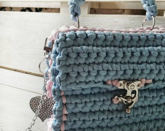 Baby blue crochet bag with tassels