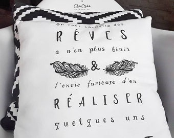 Pillow painted brush / initials front + back personalized