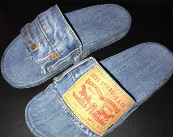 Recycle Denim Jeans Slides
