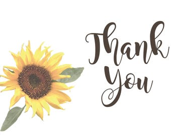Sunflower Thank You Card. Thank You Card. Bridal Thank You. Wedding Thank You. Thank You.
