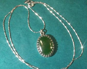Nephrite jade and sterling silver necklace