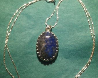 Lapis Lazuli in sterling silver necklace