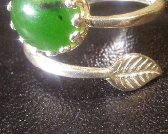 Nephrite jade and sterling silver ring