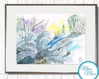 """Watercolor """"Dusk"""" original painting"""