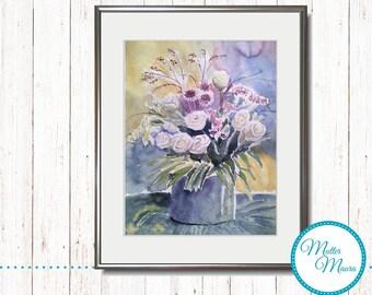 "Watercolor ""White flowers"" original painting"