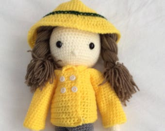 cute cuddly handmade Crochet doll and outfits