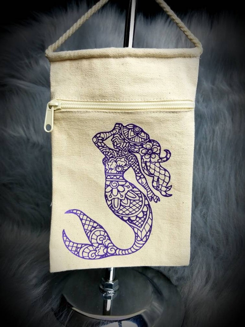 Mermaid crossbody bag metallic purple design on white canvas. image 0