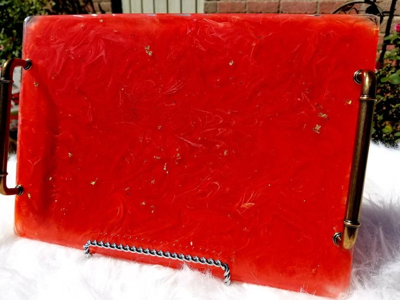 Resin serving tray 13x9 Firestorm Tray image 0