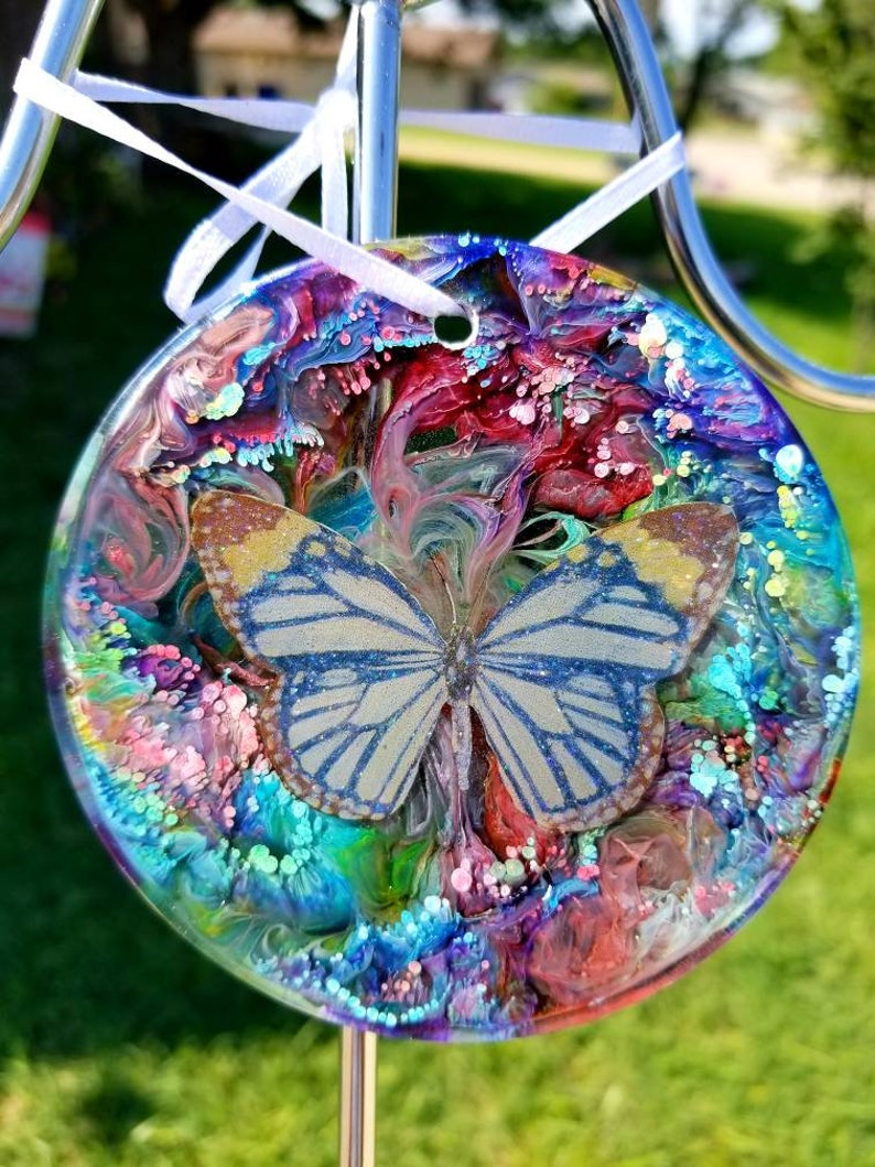 Resin art Window Charm art or Christmas ornament resin alcohol image 0