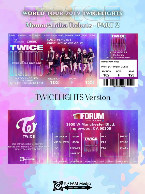 Twice World Tour 2019 Twicelights Concert Memorabilia Tickets Etsy