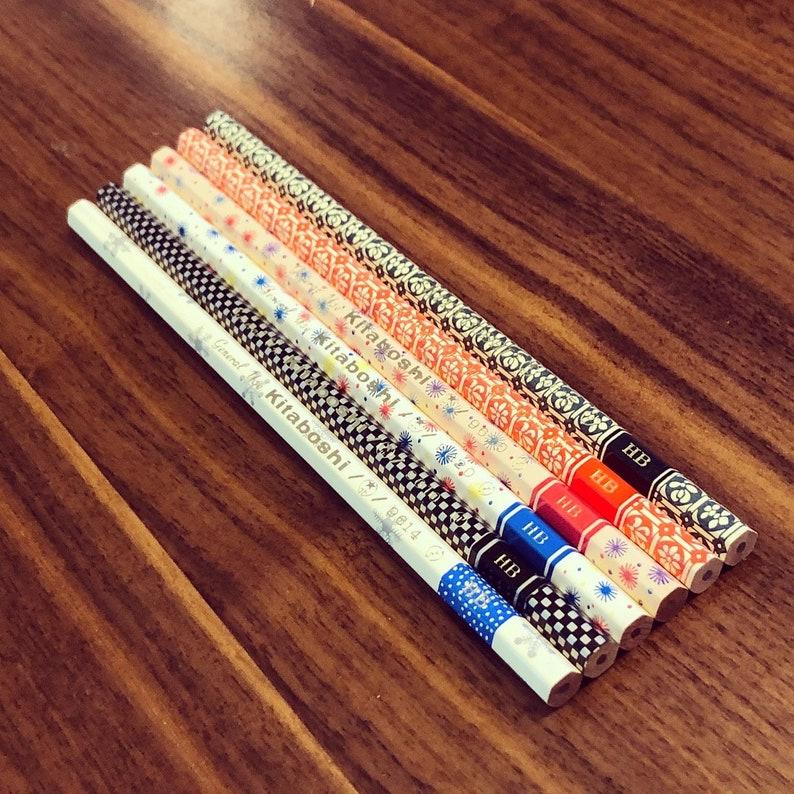 Vintage Kitaboshi 9600 Series HB Sampler Set Six 6 Beautiful Patterned Pencils with Gold Foil Imprint