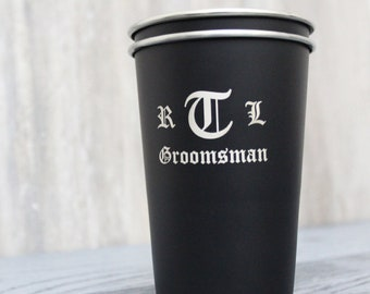 4bb9fbb9fc66 Personalized Black Stainless Steel Pint Glass Cup - custom pint glass,  engraved pint cup, pints, groomsmen gift, bachelor party gift favor