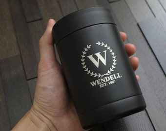 Personalized Black Stainless Steel Can Cooler Coozie - custom can cooler, engraved cooler, like yeti, groomsmen gift, bachelor party gift