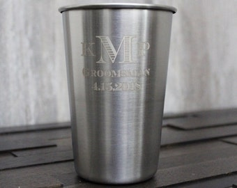88ad6bc3dbc2 Personalized Silver Stainless Steel Pint Glass Cup - custom pint glass,  engraved pint cup, pints, groomsmen gift, bachelor party gift favor