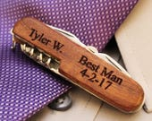 Personalized Rosewood Pocket Knife Bottle Opener Corkscrew - engraved wood wedding knives, groomsman, best man, pocket knives, jack knife