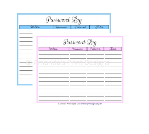 photo relating to Printable Password Log named printable pword log PDF