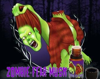 Zombie Fear Musk - Earth, White Funeral Flowers, Ozone, Smoked Woods, Black Musk, Tobacco - Vegan Cruelty Free 10 ml Perfume Oil