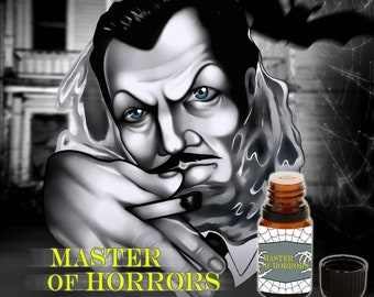 Master of Horrors - Tobacco Smoke, Beeswax, Leather-bound Books, Petrichor, Cognac, a single Red Rose - Vegan Cruelty Free 10 ml Perfume Oil