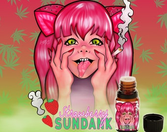 Strawberry Sundank - Hazy Strawberry, Chocolate Musk, Indian Sandalwood, Sugarcane, and Sweet Grasses - Vegan Cruelty Free 10 ml Perfume Oil