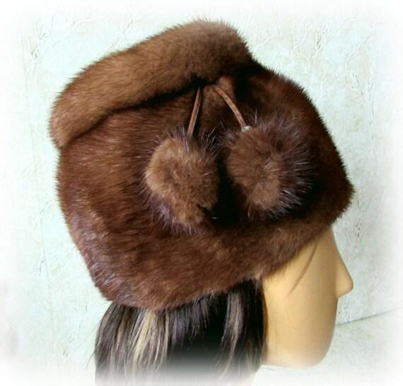Vintage 90s Women Mink Hat Winter Fur Hat Brown Mi