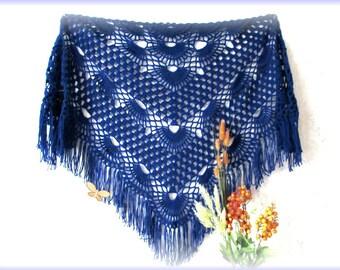 Dark blue crochet shawl, handmade shawl, crochet shawl, knitted shawl, openwork shawl, lace shawl, triangle shawl, big shawl, wedding shawl