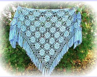 Blue crochet shawl, handmade shawl, crochet shawl, knitted shawl, openwork shawl, lace shawl, triangle shawl, big shawl, wedding shawl