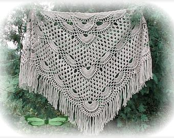 Gray crochet shawl, handmade shawl, crochet shawl, knitted shawl, openwork shawl, lace shawl, triangle shawl, big shawl, wedding shawl