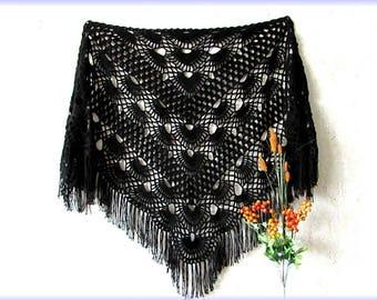 Black crochet shawl, handmade shawl, crochet shawl, knitted shawl, openwork shawl, lace shawl, triangle shawl, big shawl, wedding shawl