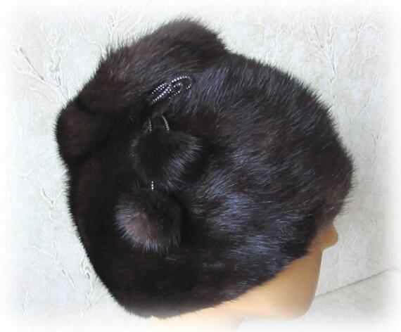 Vintage 90s Women Mink Hat Winter Fur Hat Black Mi