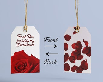 wedding favor tag thank you bridesmaid gift tag printable red roses at home cut print out