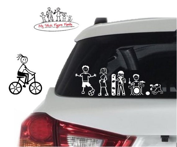 MY STICK FIGURE FAMILY Car Window Vinyl Decal Family Car StIckers PD3 Dog Small