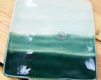Blue-Gradient Stoneware Plate