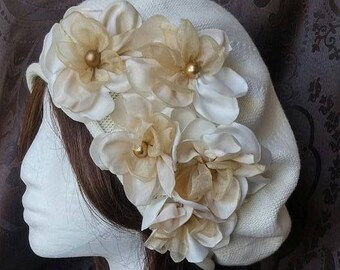 988edd15a72f7 Ivory beret with handmade flowers cotton beret gold and ivory women beret french  beret beret with applique  jewish headcovering