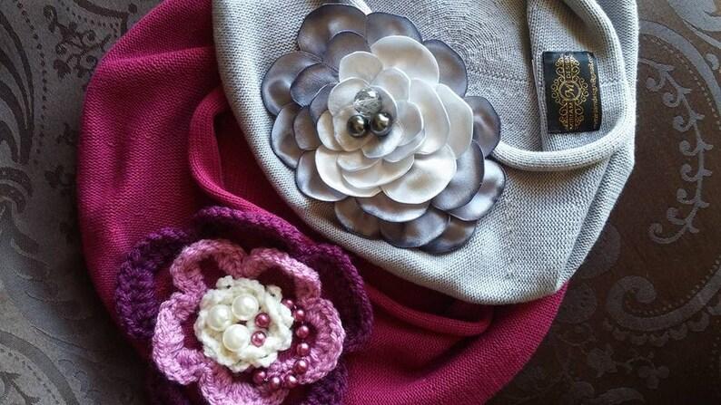 d996b9bd21006 Gray cotton beret with big handmade flower women beret french