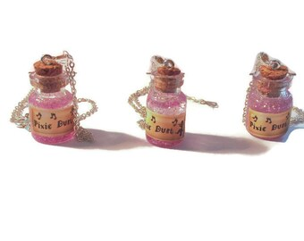 In the pink pixie dust bottle necklace