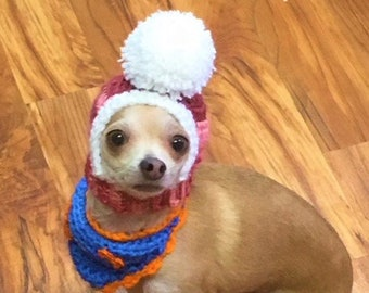 Chihuahua hat, Small dog hat, Pom Pom Hat, Hua Headwarmer, Warm winter hat for dogs